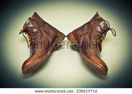 New fashion leather handmade shoes, cowboy style. Grunge style. - stock photo