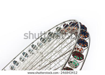 New Ferris Wheel in Wien on white background (Wien is the Austrian capital - Europe) - stock photo