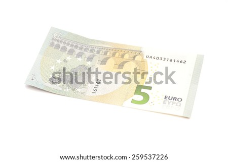 New five euro banknote isolated