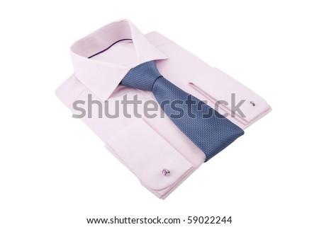 new folded shirt with necktie - stock photo