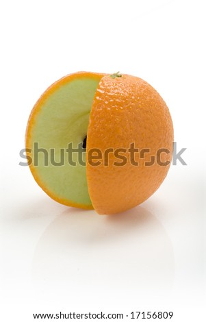 New Fruit - Orange skin on an apple with a missing slice - stock photo