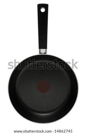 New frying pan on a white background - stock photo