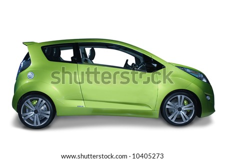New fuel efficient hybrid car design. The future of the industry. Isolated on a white background with a shadow detail drawn in. A pen tool clipping path is included for the car, minus the shadow. - stock photo