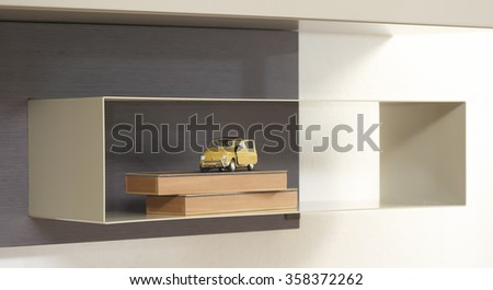 NEW FURNITURE LINE . MODERN DESIGN . STRAIGHT LINES . MATERIALS : WOOD , METAL . ITEMS : SHELF - stock photo