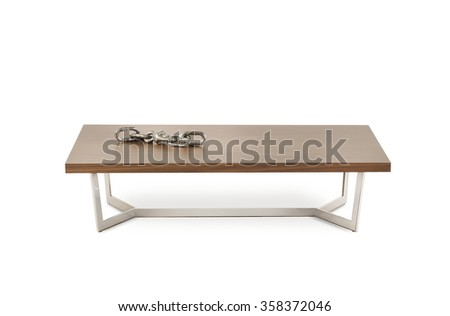 NEW FURNITURE LINE . MODERN DESIGN . STRAIGHT LINES . MATERIALS : WOOD , METAL . ITEMS : TABLE  - stock photo