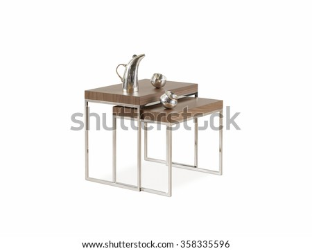 NEW FURNITURE LINE , MODERN DESIGN,  STRAIGHT LINES , MATERIALS : WOOD, METAL. ITEMS : TABLE SET - stock photo