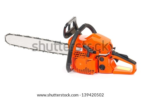 New gasoline-powered chain saw isolated on a white background cutout - stock photo