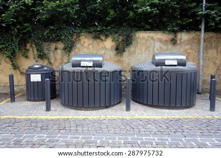 """New generation of different Garbage containers with identification card technology for separate types of trash """"Eco Underground"""". Ecology concept - stock photo"""