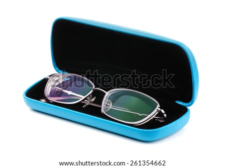 New glasses in a case on a white background  - stock photo