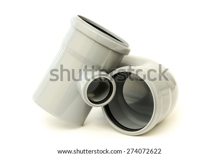 New gray drain pipes, isolated on a white background