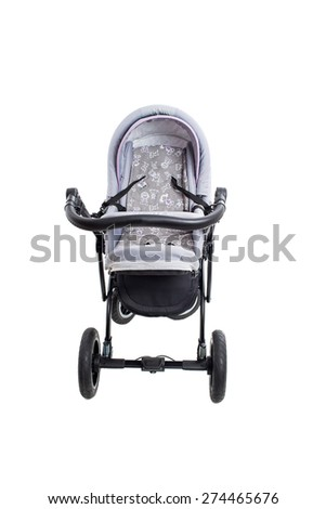 New gray modern pram. Front view. Isolated on a white background. - stock photo