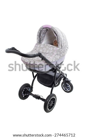 New gray modern pram with doll. Side view. Isolated on a white background. - stock photo