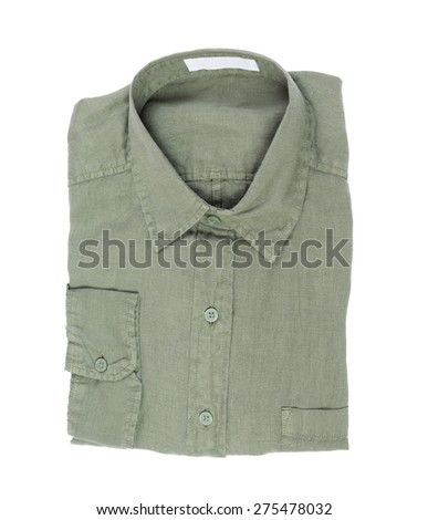 New green linen shirt isolated on white background - stock photo