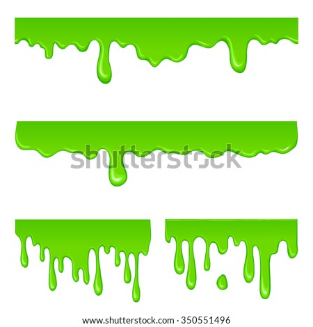 New green slime set isolated on a white - stock photo