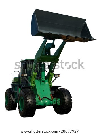 New green tractor isolated on pure white - stock photo