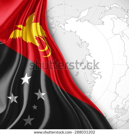 New Guinea flag of silk with world map and white background - stock photo