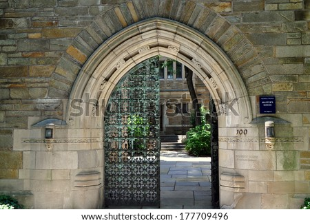 New Haven, Connecticut - June 20, 2013:  Neo-gothic gateway to the Master's House at Trumbull College / Yale University - stock photo