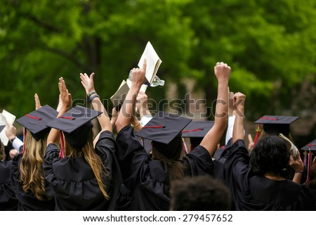New Haven - May 18: Yale University graduation ceremonies on Commencement Day on May 18, 2015. Yale University is a private Ivy League research university in New Haven, Connecticut. Founded in 1701 - stock photo