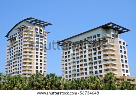 New Highrise Condos on the Florida Coast - stock photo