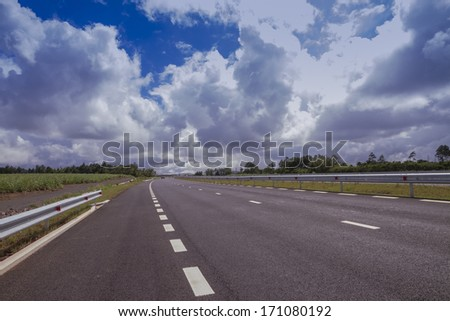 New highway landscape in Mauritius.