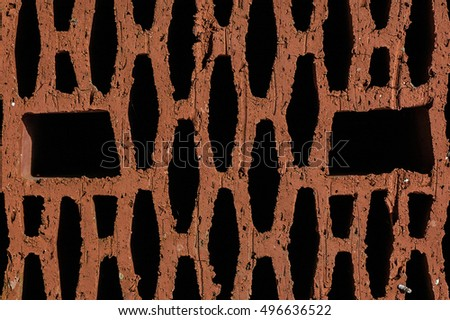 New hollow clay block closeup texture isolated on black background