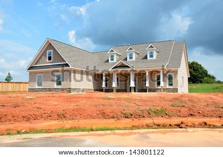 New home being constructed that will be for sale at Georgia, USA. - stock photo