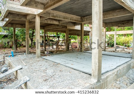 new home building under construction - stock photo