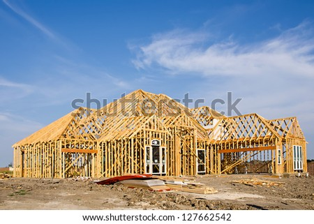 New home construction framing - stock photo