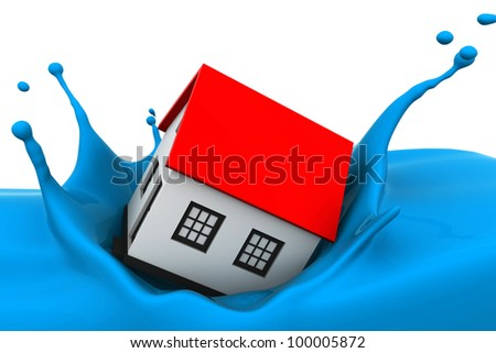 New home dropped into paint - stock photo