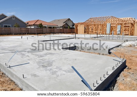 New Home Foundation Construction - stock photo