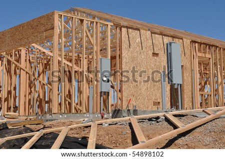 New Home under Construction Frame - stock photo