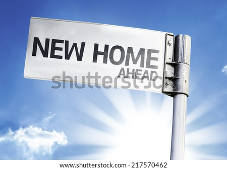 New Home written on the road sign - stock photo