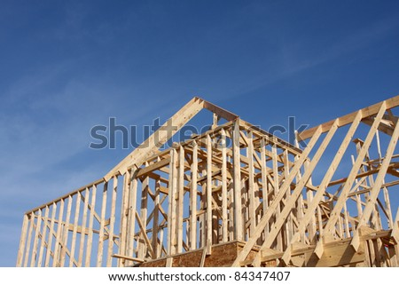 New House Construction Frame with room for copy - stock photo