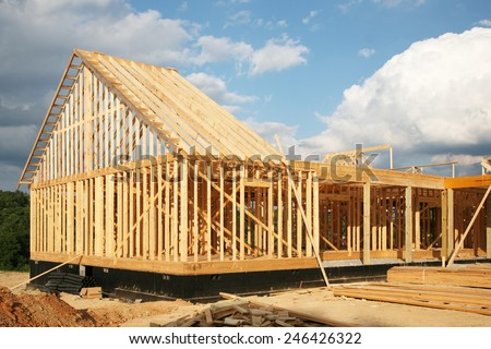 New house construction-house framing - stock photo