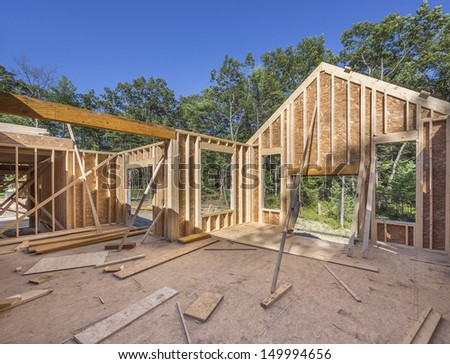 New house construction in the suburbs - stock photo