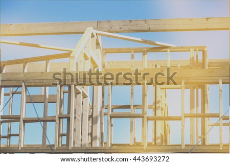 new house construction interior with exposed framing, photography filtered style instagram