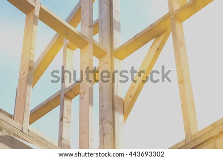 new house construction interior with exposed framing, photography filtered style instagram - stock photo