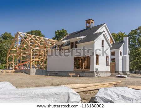 New House Construction post and beam framing - stock photo