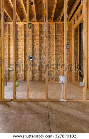 new house construction, vertical - stock photo