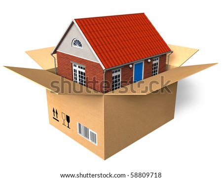 New house in box - stock photo