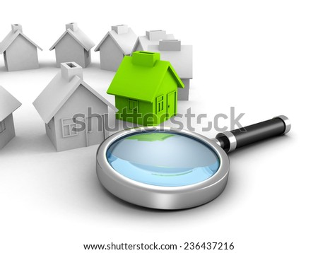 New house search with magnifier glass. real estate concept 3d render illustration - stock photo