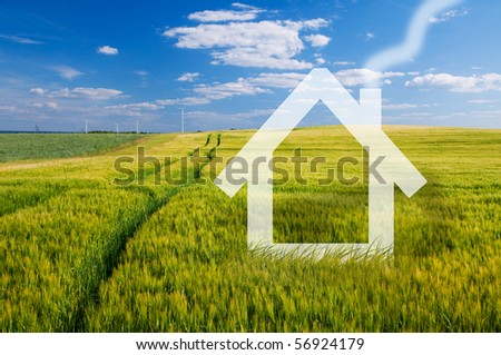 New house vision on green meadow. Conceptual image - stock photo