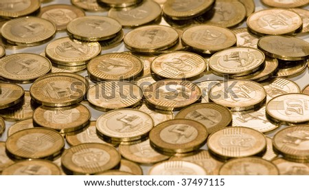 NEW Hungarians twohundred forint(heap coins) - stock photo