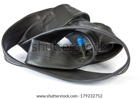 New inner tube for mountain bike from recycled rubber waste - stock photo