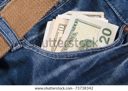 New jeans and money in a pocket.
