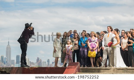 NEW JERSEY - JUNE 14: wedding in Riverview-Fisk Park on June 14, 2014 in NJ. Riverview-Fiske Park is a neighborhood on the east side of the Palisades with views of Hoboken and the NYC skyline. - stock photo
