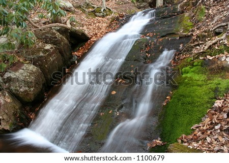 New Jersey's Worthington State Park Waterfall with moss - stock photo