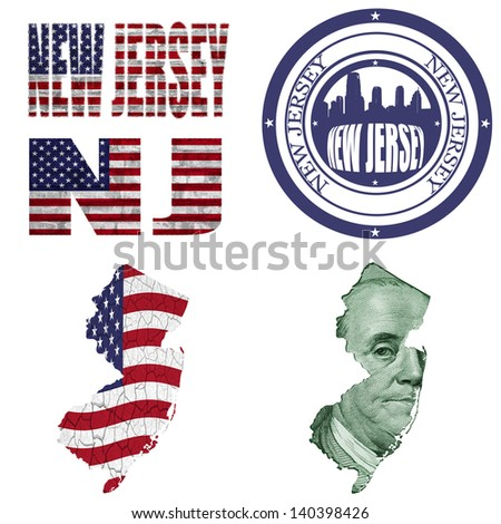 New Jersey state collage (map, stamp,word,abbreviation) in different styles in different textures - stock photo