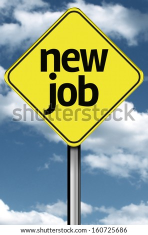 New Job creative sign on a beautiful sky - stock photo