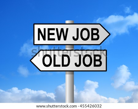New job old job road sign post against blue sky - stock photo